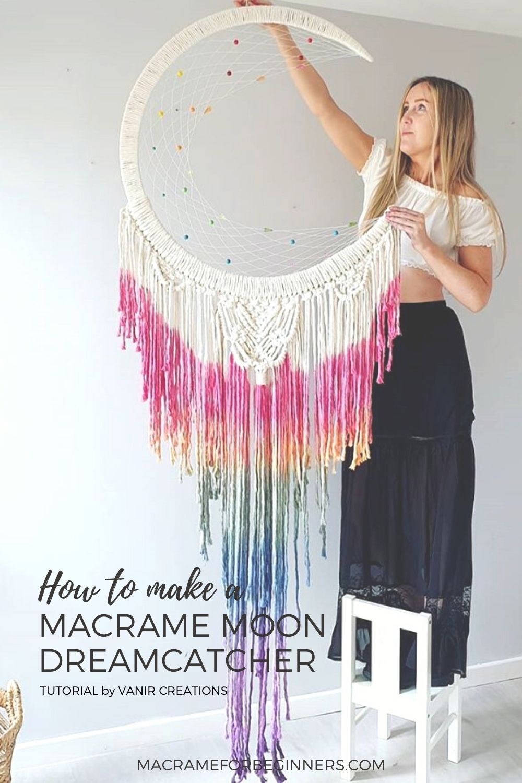 How to make a Macrame Moon Dreamcatcher by Vanir Creations