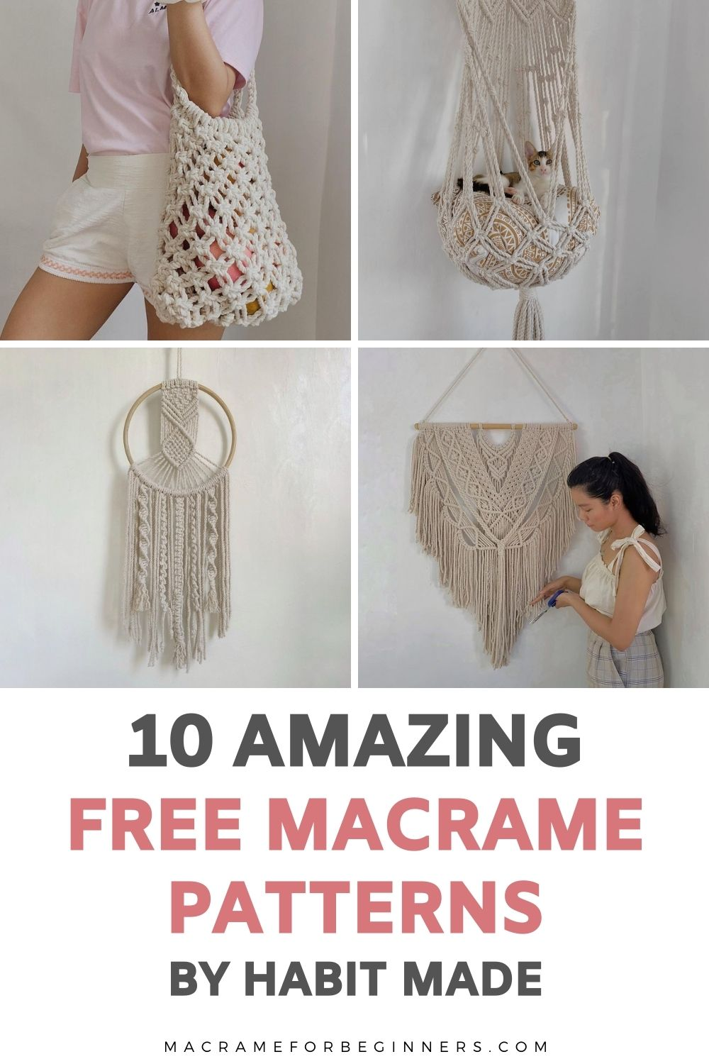 10 Gorgeous Free DIY Macrame Projects by Habit Made - Macrame for Beginners - Free Patterns