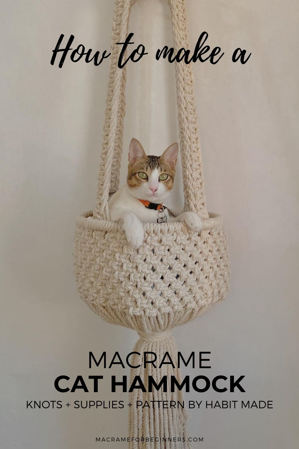 How to Make a Gorgeous Macrame Cat Hammock with Habit Made - Free & Easy Macrame Cat Bed Tutorial