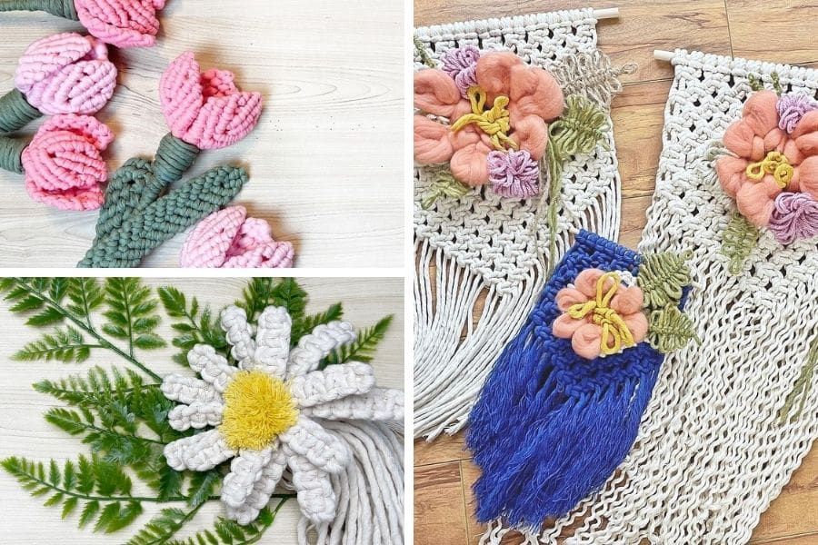 7 Gorgeous Free Macrame Flower Patterns by Simply Inspired - Macrame for Beginners