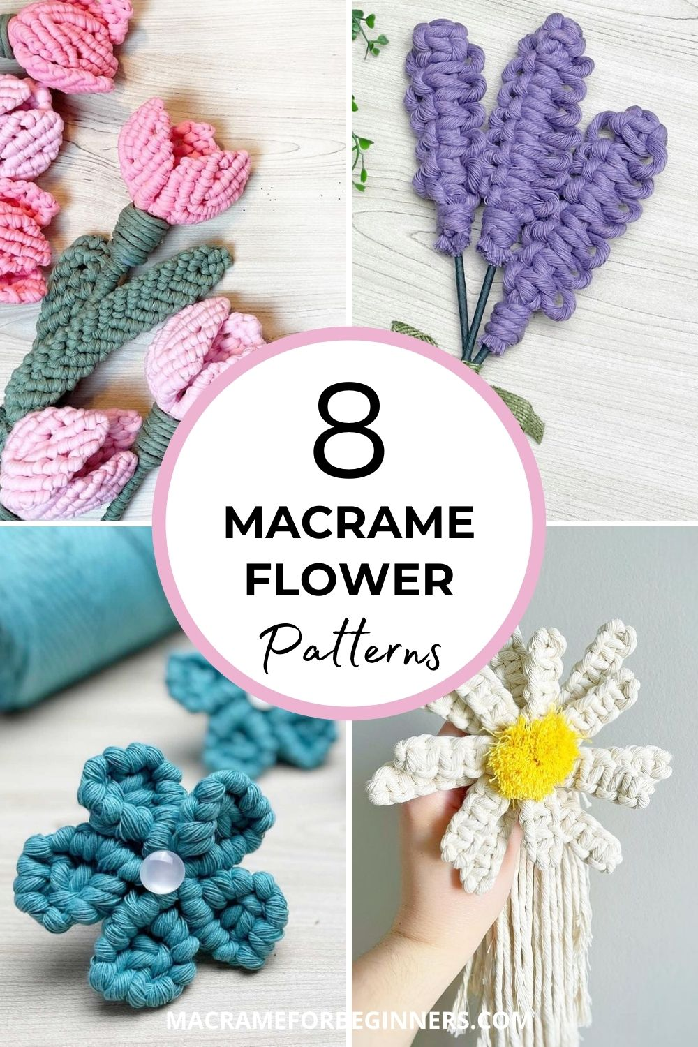 8 Gorgeous Free Macrame Flower Patterns by Simply Inspired - Macrame for Beginners