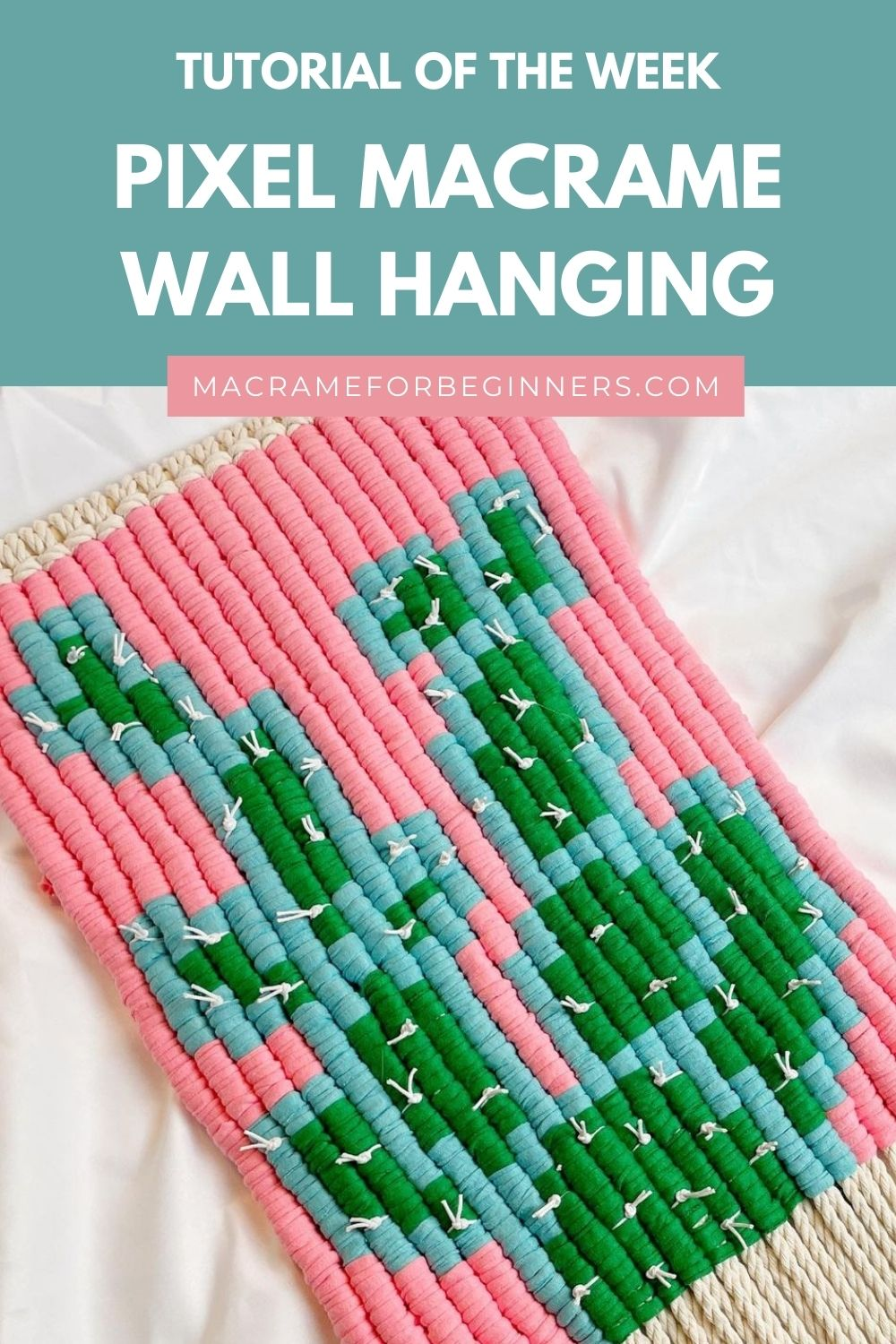 Easy Pixel Macrame Cactus Wall Hanging by Simply Inspired - Macrame for Beginners